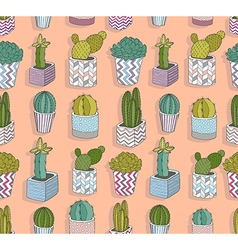 Cute seamless cactus pattern vector