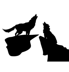 Silhouettes of wolves vector