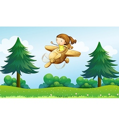 A wooden plane with a young girl vector image