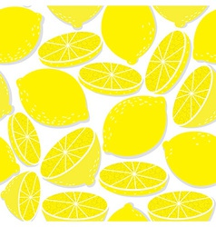 Lemon seamless background isolated on white vector image