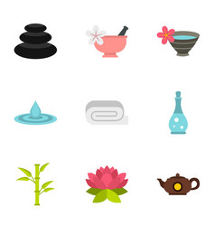 Spa therapy massage cosmetics icons set vector