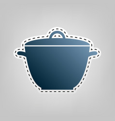 Saucepan simple sign  blue icon with vector