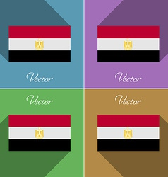 Flags egypt set of colors flat design and long vector