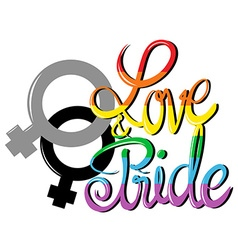 Sign saying love and pride vector