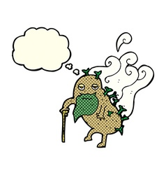 Cartoon old potato with thought bubble vector