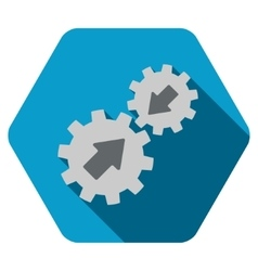Gears integration flat hexagon icon with long vector