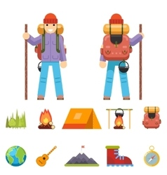 Backpaker character mountain travel trip vacation vector