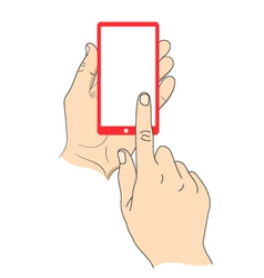 Hand touching smartphone with blank white screen vector