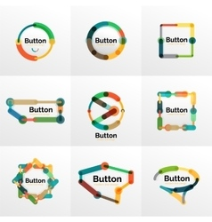 Thin line design geometric button set flat vector
