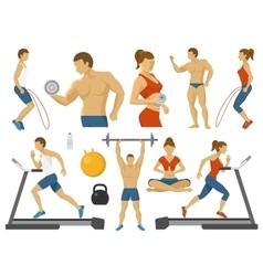 Fitness Decorative Flat Icons Set vector image