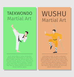 Asian martial arts taekwondo and wushu vector