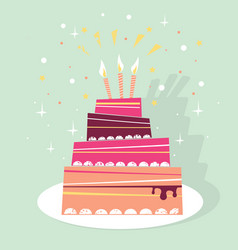 Birthday sweet cake card vector