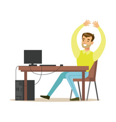 cheerful man sitting at the office table raising vector image vector image