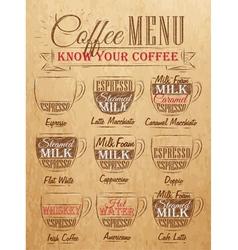 Coffee menu cup kraft vector