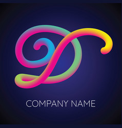 d letter logo icon blending color vector image vector image