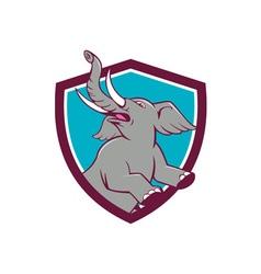 Elephant prancing crest cartoon vector