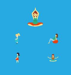 Flat icon pregnancy set of yoga meditation vector