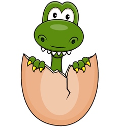 Funny dinosaur born vector