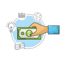 Hand with bill cash money and business icons vector