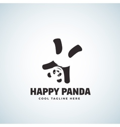 Happy panda abstract emblem or logo vector