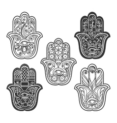 Indian hamsa hand with eye vector image