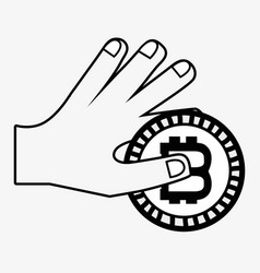 Line icon hand and bitcoin money currency vector