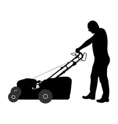 Man with lawn-mower vector