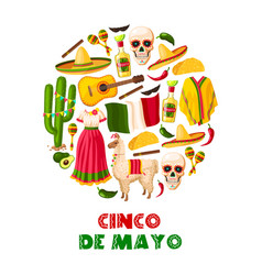 Mexican holiday card of cinco de mayo fiesta party vector