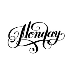 Monday day of the week handwritten black ink vector