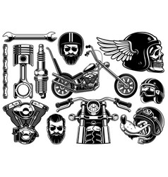 motorcycle clipart with 12 elements on white vector image vector image