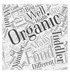 Organic foods great for toddlers word cloud vector