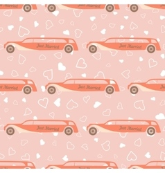 pink seamless pattern with wedding car vector image vector image