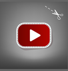 Play button sign red icon with for vector