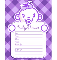 Purple Baby Girl Invitation vector image vector image