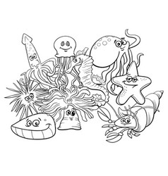 Sea life group cartoon characters coloring book vector