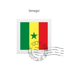 Senegal Flag Postage Stamp vector image vector image