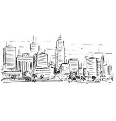sketchy drawing of city high rise landscape vector image