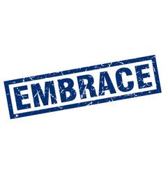 Square grunge blue embrace stamp vector