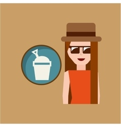 Vacation woman sand bucket summer vector