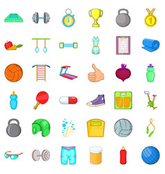 weightlifter icons set cartoon style vector image