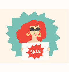 woman holding a sign sale vector image