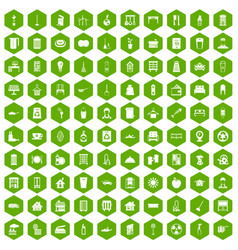 100 cleaning icons hexagon green vector