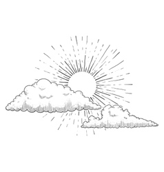 Sun with clouds engraving vector