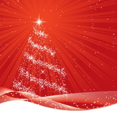 shiny red christmas tree vector image