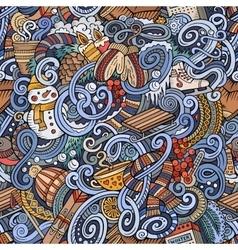 Cartoon doodles winter season seamless pattern vector