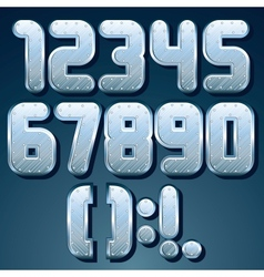 Metallic font set of shiny silver numbers vector