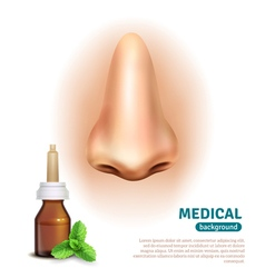 Nose spray bottle medical background poster vector