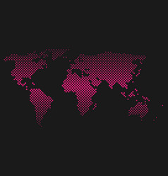 pink halftone world map of small dots in diagonal vector image