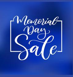 Memorial day hand lettering sale banner vector