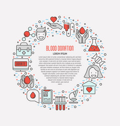 Blood donation concept thin line icons vector